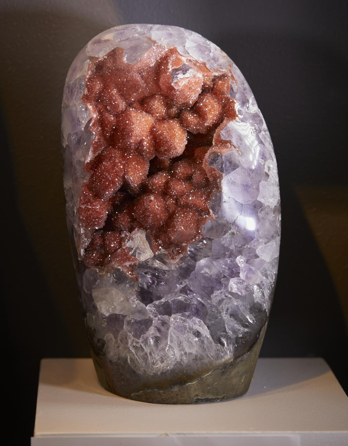 STUNNING AMETHYST & RED DRUZE STALACTITE FORMATIONS SURROUNDED