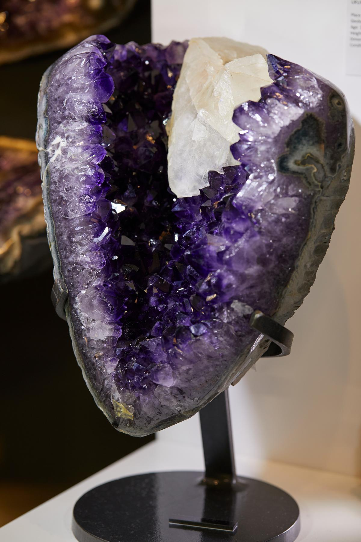 DEEP PURPLE AMETHYST CLUSTER WITH CALCITE AND GREY