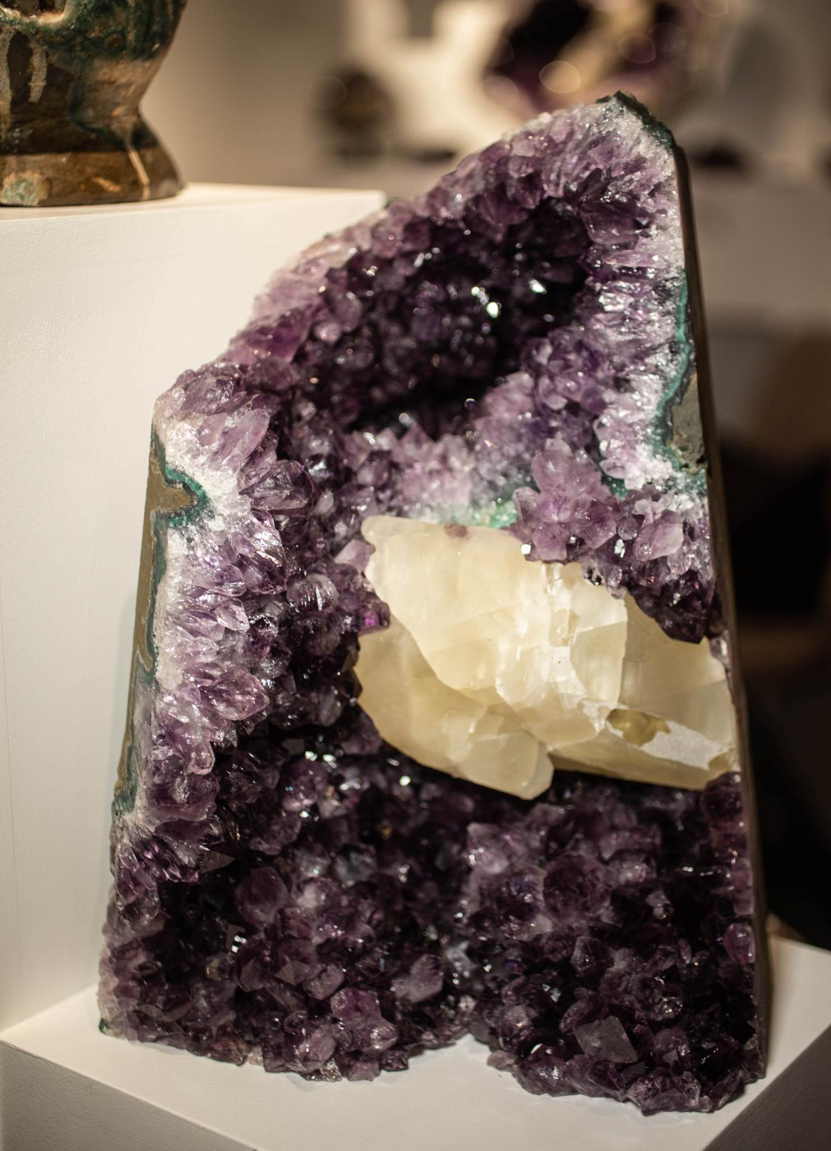 LARGE ROUGH AMETHYST WITH CALCITE FORMATION